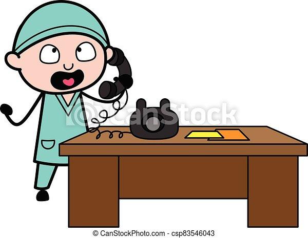 Cartoon talking on phone A man