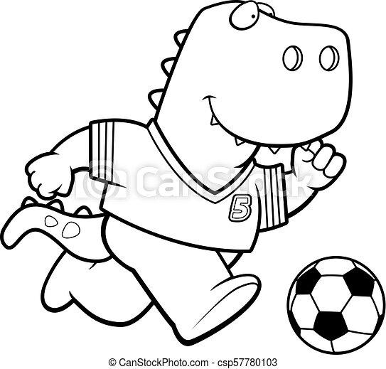 Cartoon T Rex Soccer A Cartoon Illustration Of A Tyrannosaurus Rex
