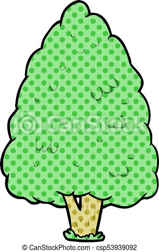 cartoon tall tree - csp53939092