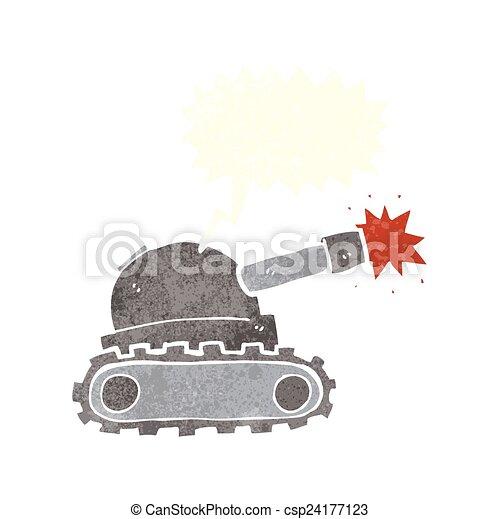cartoon tank with speech bubble - csp24177123