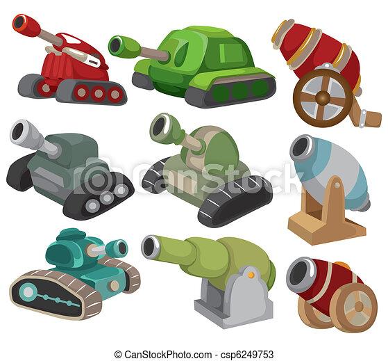 cartoon Tank/Cannon Weapon set icon - csp6249753