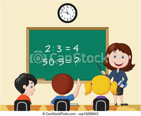 Cartoon Teacher pointing at blackbo - csp19296643