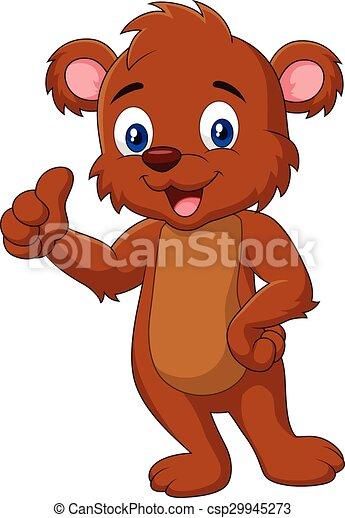 Cartoon teddy bear giving thumb up - csp29945273