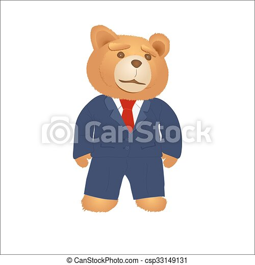 Cartoon teddy bear in a suit and tie - csp33149131