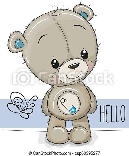 Cartoon Teddy Bear on a white background - csp60395277