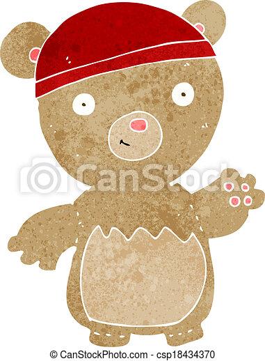 cartoon teddy bear wearing hat - csp18434370