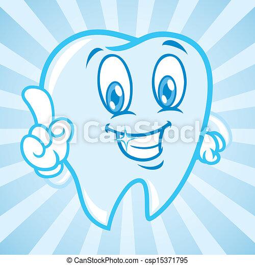 cartoon teeth with background - csp15371795