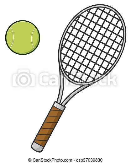 Cartoon Tennis Ball And Racket Illustration Isolated On White