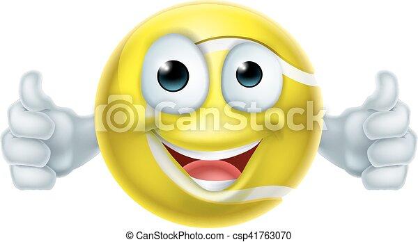 Cartoon Tennis Ball Thumbs Up Man Character - csp41763070