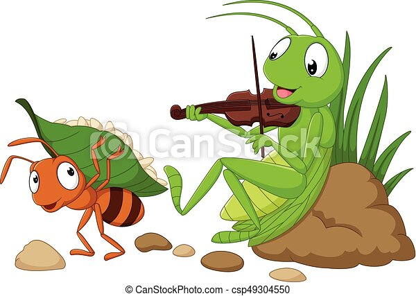 Cartoon the ant and the grasshopper - csp49304550