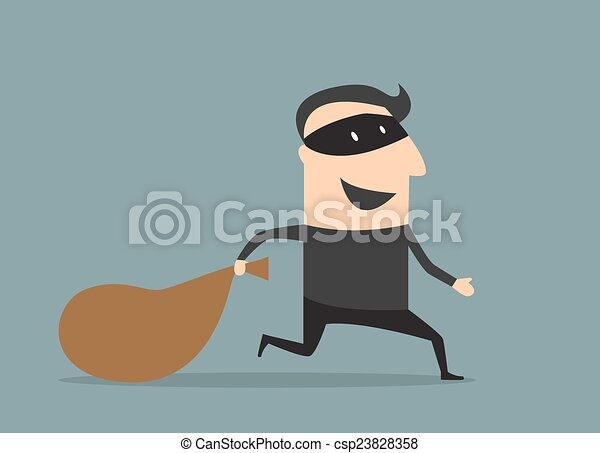 Cartoon thief in mask with sack - csp23828358