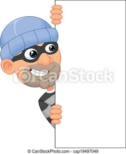 Cartoon thief looking around the ed - csp19497049