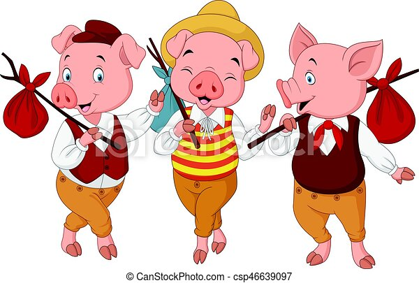vector illustration of cartoon three little pigs rh canstockphoto com three little pigs clipart pictures 3 little pigs clipart free