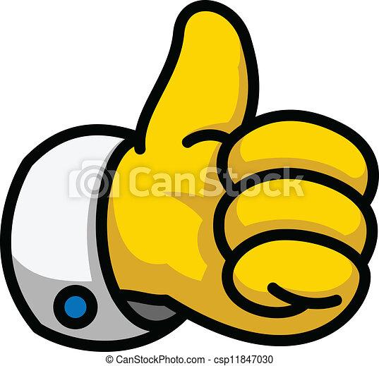 Cartoon Thumbs Up symbol, vector Eps8 illustration - csp11847030