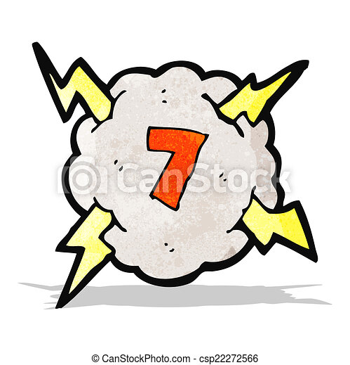 cartoon thunder cloud with number 7 - csp22272566