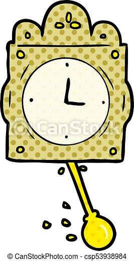 cartoon ticking clock with pendulum - csp53938984