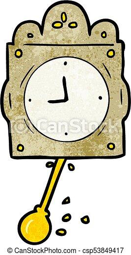 cartoon ticking clock with pendulum - csp53849417
