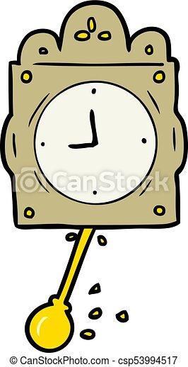 cartoon ticking clock with pendulum - csp53994517