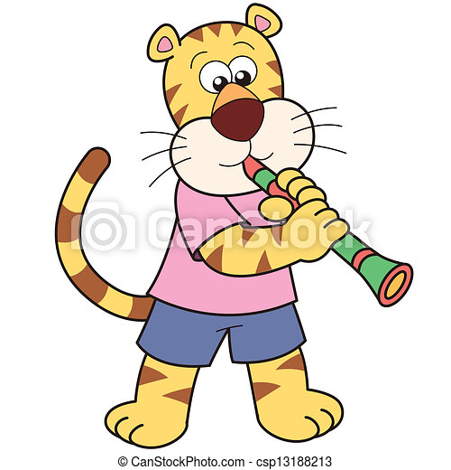 cartoon tiger playing a clarinet vector clip art search rh canstockphoto ca
