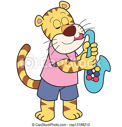 cartoon tiger playing a saxophone vector clip art search rh canstockphoto com
