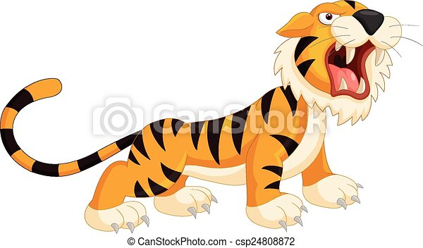 vector illustration of cartoon tiger roaring rh canstockphoto com cartoon tiger cub clipart cartoon tiger face clipart