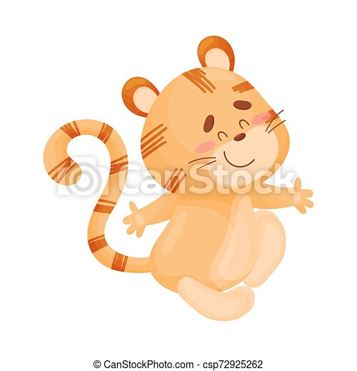 Cartoon tiger. Vector illustration on a white background. - csp72925262