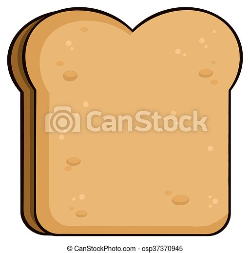 cartoon toast bread slice illustration isolated on white eps rh canstockphoto ca 2 slices of bread clipart slice of bread clipart black and white