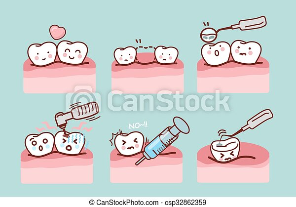 Cartoon Tooth With Dental Equipment Vector