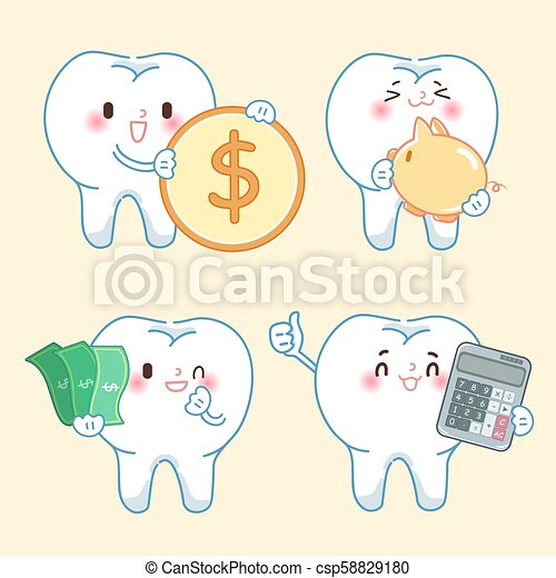 cartoon tooth with money - csp58829180