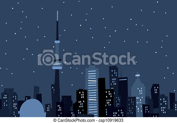 Cartoon Toronto at Night - csp10919633
