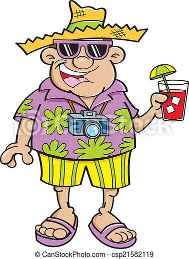 Cartoon tourist - csp21582119