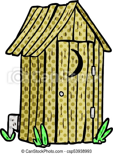 cartoon traditional outdoor toilet with crescent moon window eps rh canstockphoto com funny outhouse clipart outhouse clip art free