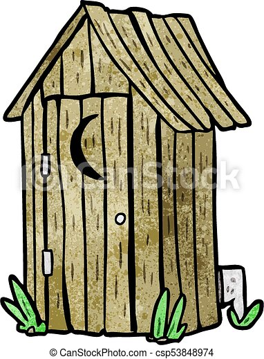 cartoon traditional outdoor toilet with crescent moon window rh canstockphoto com outhouse clipart free