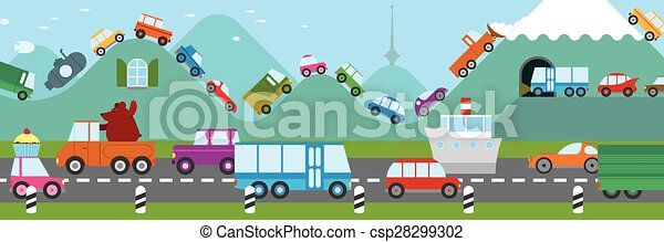 Cartoon traffic jam - csp28299302