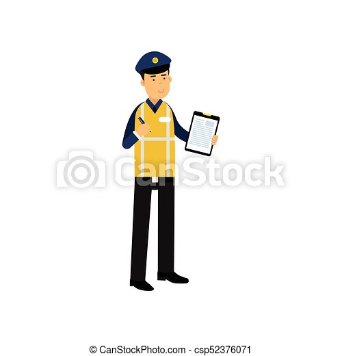 Cartoon traffic policeman standing and holding clipboard... vectors ...