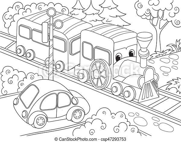Cartoon train train and car coloring book for children cartoon vector illustration - csp47293753