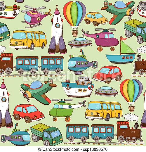 cartoon transport pattern - csp18830570