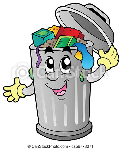 cartoon trash can vector illustration vector clip art search rh canstockphoto com trashcan clipart trash can clipart free