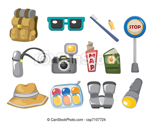 Cartoon travel icons set - csp7107724
