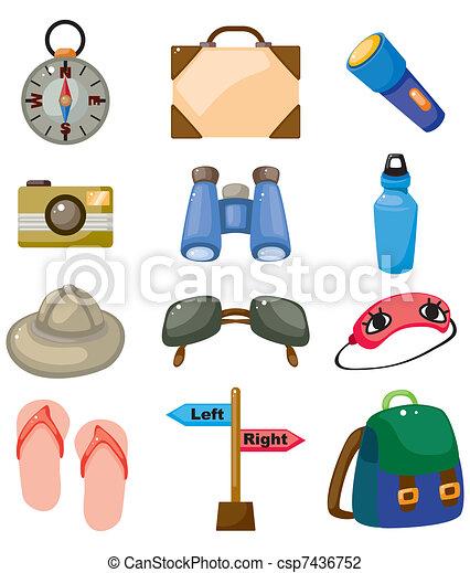 Cartoon travel icons set - csp7436752