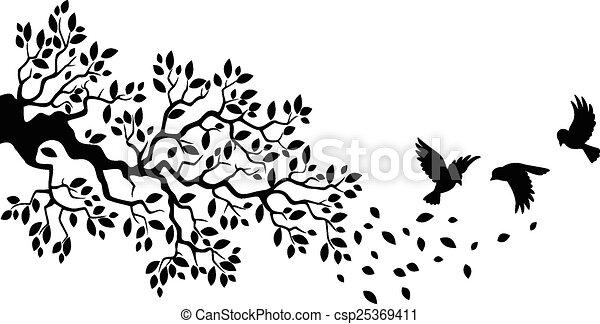 Vector Illustration Of Cartoon Tree Branch With Bird Silhouette