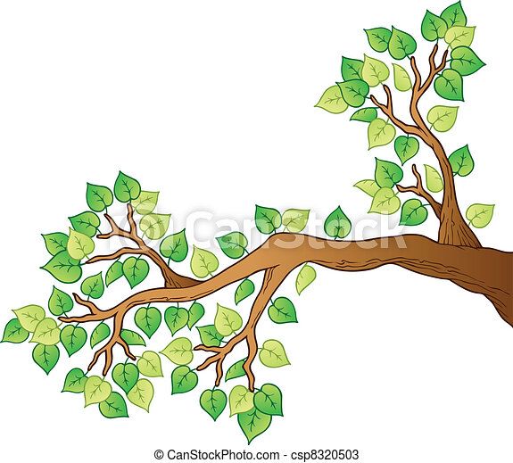Cartoon tree branch with leaves 1 - csp8320503