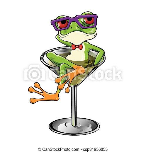 Cartoon Tree frog Martini cocktail - csp31956855