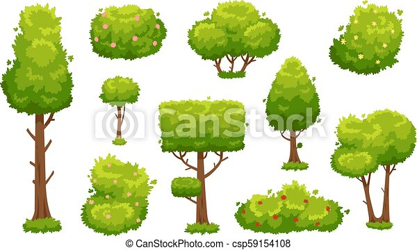Cartoon trees and bushes. Green plants with flowers for vegetation landscape. Nature forest tree and hedge bush vector set - csp59154108