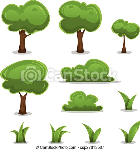 Cartoon Trees, Hedges And Grass Leaves Set - csp27813507