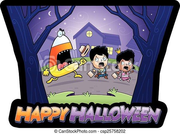 Cartoon Trick-or-Treat Halloween  - csp25758202