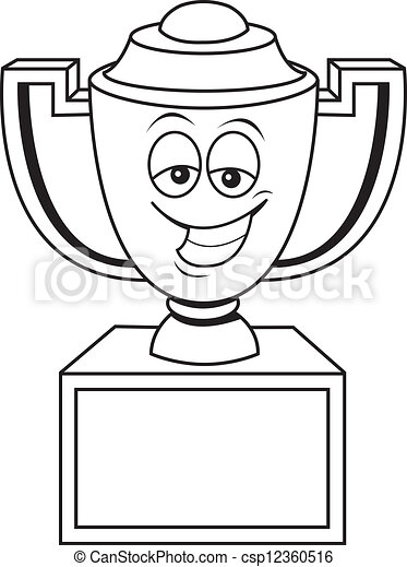 Cartoon Trophy Cup Black And White Illustration Of A Vector Clip