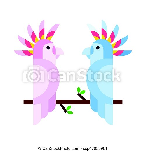 Cartoon tropical parrot wild animal bird vector illustration and wildlife cute feather zoo color nature vivid perch tropics fly couple jungle pretty macaw. - csp47055961