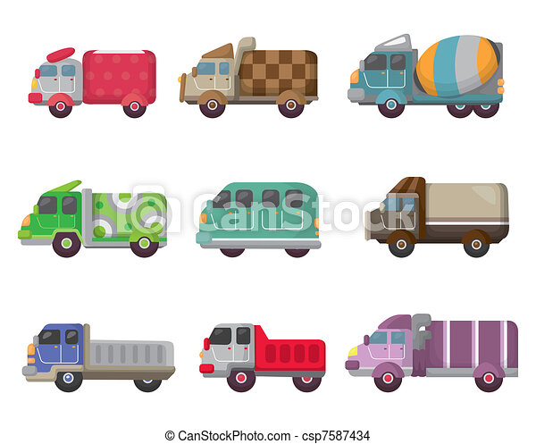 cartoon truck icon - csp7587434