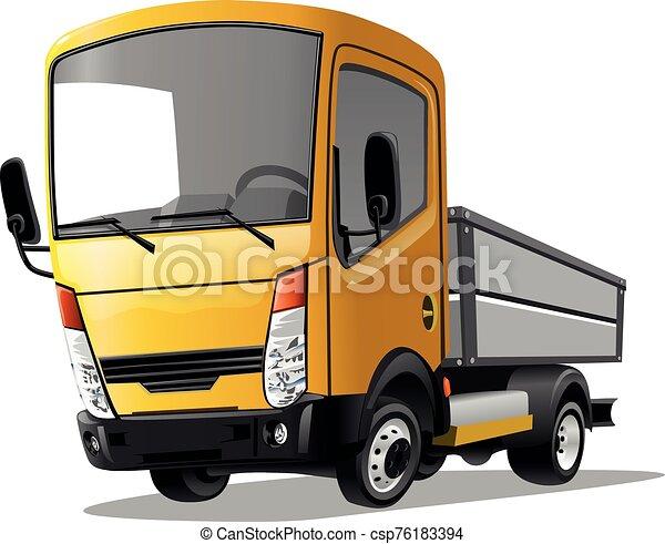 Cartoon truck isolated on white background. Vector illustration. - csp76183394